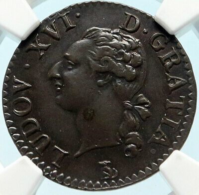 1790 / 89T FRANCE King LOUIS XVI Antique Genuine French Liard Coin NGC i83752