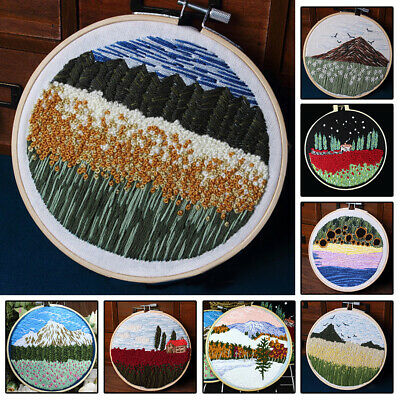 Punch Needle Embroidery Kit Soft Yarn 20cm Embroidery Hoop Landscape Scenery