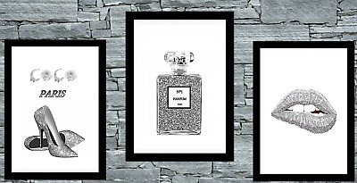 Set of 3 Coco Wall Art Prints Grey home Room Bedroom Poster UK inspired UK Glitz