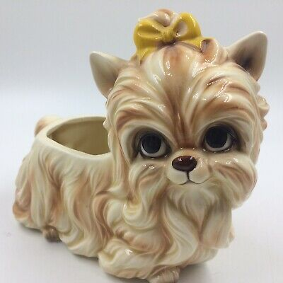 Vintage Napco planter dog Yorkshire Terrier with bow yorkie