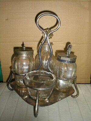 Vintage Silver Plated  and Cut Glass Cruet Set