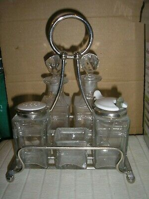 Vintage Silver Plated  and  Glass Cruet Set