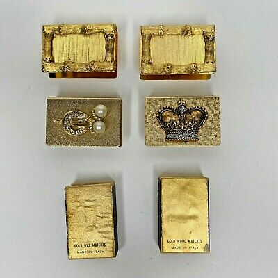 Vintage Lot of 4 Match Box Cover Case Holder Gold Tone Gold Wax and Wood Matches