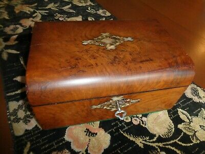 Antique Mahogany Inlaid Box With Key, Inlaid Iridescent Shell Design, Domed Top