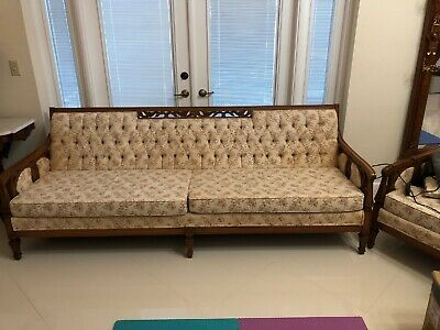 Vintage 1960's Mid Century French Or Italian  Provincial Couch And Chair
