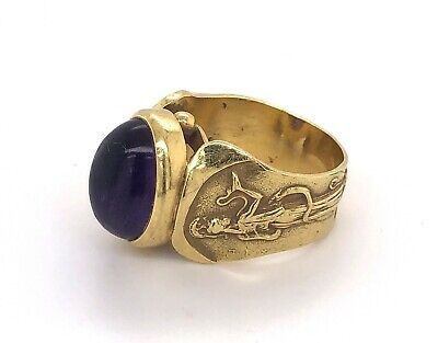 Antik Griechische Mythologie Design Cabochon Amethyst 18K Gold Ring