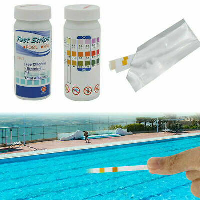 3 in 1 50 strip swimming pool spa water chlorine PH test strips alkaline test