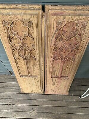 Two 19Th Century Gothic Pine  Carved Tracery  End Pews Panels