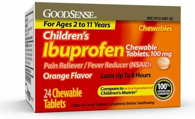 2 Pack of GoodSense Children's Ibuprofen Chewable Tablets, 100 mg, 24 Count