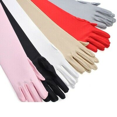 Women Spandex Extra Wrist Elbow Opera Evening Party Fancy Costume Long Gloves