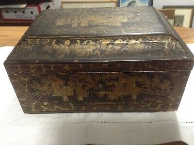 Vintage Decorative Lacqurred Oriental Box.