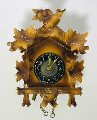 """Vtg Miniature West Germany Carved Black Forest Wood Bird Classic Cuckoo Clock 5"""""""