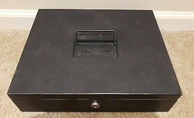 "Vtg The Interior Steel Equipment Co. Black Cash Box & Key 12"" x 10"" Cleveland,OH"