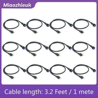 12Pcs Waterproof 3.2ft/1m Power Cable XLR(3-Pin) For Stage Moving Head Light DJ