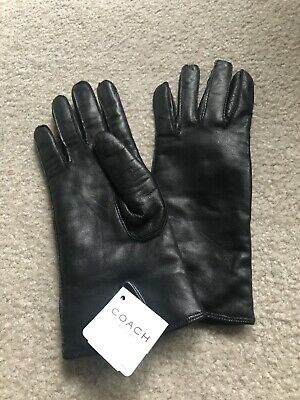 COACH Women's NEW Black Soft Leather Cashmere Lined Gloves NWT Size 6 1/2