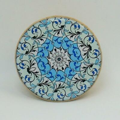 Round Beech Wooden Wall Hook Coat Hook Handcrafted Mandala Blue And White