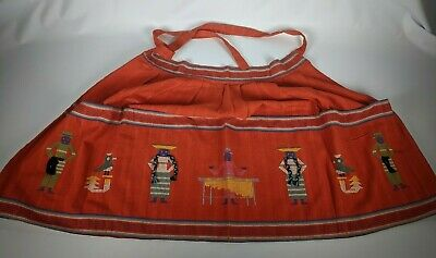Vintage Handwoven Guatemalan Red Embroidered Apron 100% Cotton