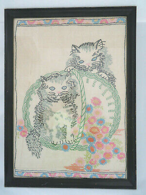 Vintage 1940's Embroidered Framed Cats Kittens Needlework Sewing Stitch Wall Art