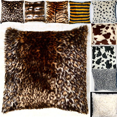 """Luxury Faux Fur Animal Print Fluffy Scatter Cushion Cover Case fits 18"""" x 18"""""""