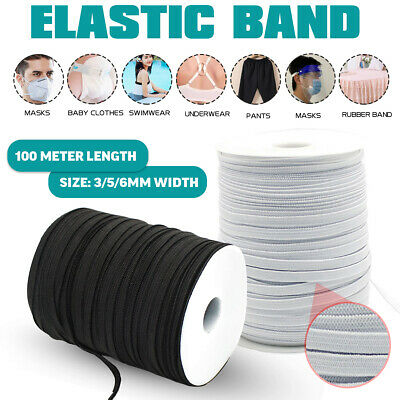 3/5/6mm 100M Flat Elastic Cord Stretch RopeSewing Dressmaking Tailoring Masks