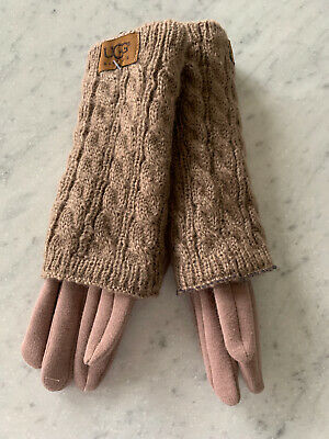 New Ugg Woman's Knit Tech Brown Gloves - One Size