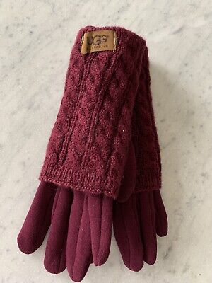 New UGG Women's Knit Tech Cranberry Gloves - One Size