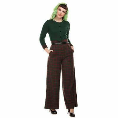 Collectif Mainline Monet Woodland Pine Check Trousers