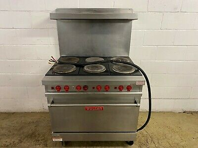 Vulcan 6 Burner Electric Single Phase Stove With Oven On Wheels Tested