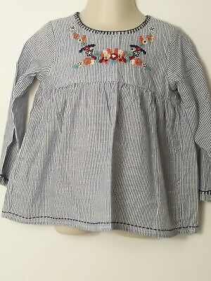 Girls Next  Blue & White Striped Embroidered Flowers Long Sleeve Dress 2-3 Yrs