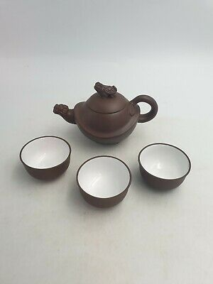Chinese Yixing Pottery Clay Teapot Tail Handle Foo Fu Lion Dog Lid 3 Tea Cups