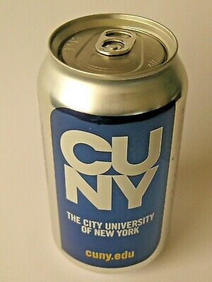 Empty CUNY City University of New York Schweppes Seltzer Soda Can top hole hid