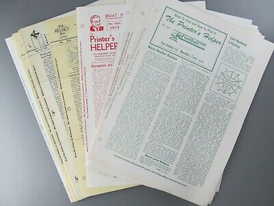 The Printer's Helper, Kelsey Co., 47 Issues from No. 63 to 470, 1934 to 1983