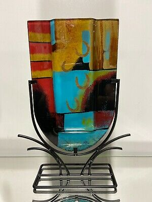 Abstract Fused Art Glass Sculpture Vase On Metal Base