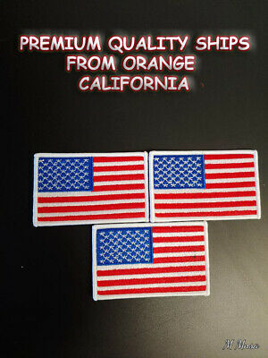 """USA American Flag REVERSE Patch 2/"""" x 3/"""" IRON ON Sew Embroidery Choice BEST VALUE"""