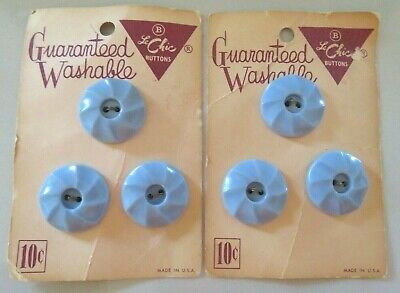 Vintage Le Chic 10 Cent Cards, Set Of 6 Powder Blue Plastic Swirl Buttons, 7/8""