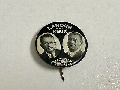 1936 Landon and Knox Jugate Button FDR President Campaign Political Pinback Pin