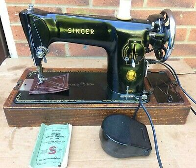 Vintage Singer 201,  201K Electric  sewing machine with instruction manual