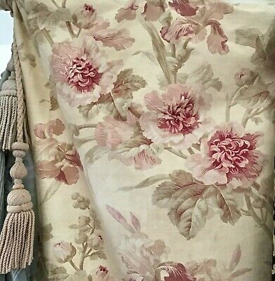 Antique 19th French Fabric Printed Linen Pink Floral  Shabby Chic