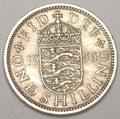 1956 UK Britain British One 1 Shilling Lions Shield Coin VF+