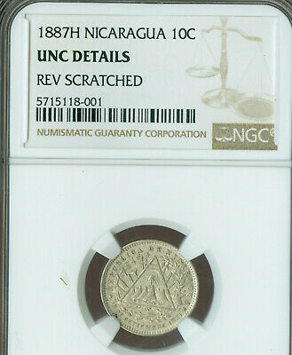 1887-H Nicaragua 10 Centavos Ngc Ms63 Unc Details Rare In Mint State .