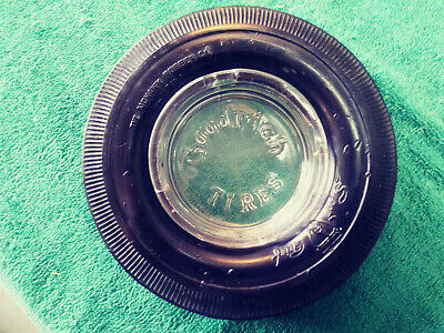 Vintage GOODRICH TIRES Glass Ashtray With a MOHAWK Tire - both are Excellent