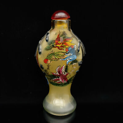 Exquisite Handmade Glass Interior painting fish pattern glass snuff bottle S207