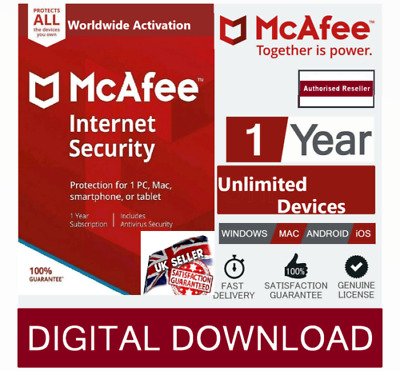 McAfee Internet Security 2020 Unlimited Multi Devices 1 Year instant delivery