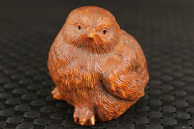 chinese old boxwood hand carved bird home statue netsuke collectable