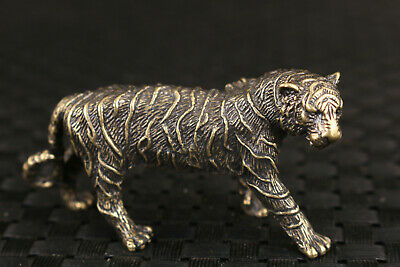 Chinese bronze tea pet tiger statue figure good stand table deco noble gift
