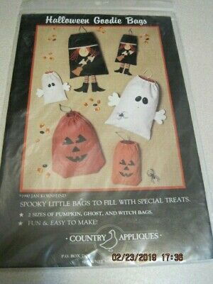 HALLOWEEN GOODIE BAGS SPOOKY Country Appliques 1990 Pumpkin, Ghost & Witch