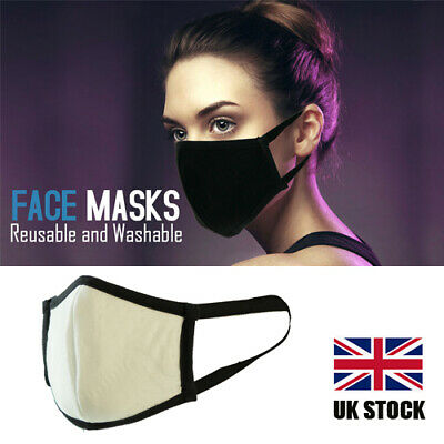Face Mask Adult Cotton Mix Fabric Breathable Washable Durable High Quality White