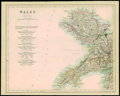 1842 - Original Antique Map of WALES NORTH WEST ANGLESEA by Fisher (36)