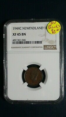 1944C Newfoundland One Cent NGC XF45 BN 1C Coin Auction Starts At 99 Cents!
