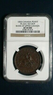 1850 Canada PENNY BANK TOKEN NGC XF45 BN 1C Coin Auction Starts At 99 Cents!